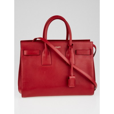 Yves Saint Laurent Red Smooth Calfskin Leather Classic Small Sac de Jour Tote Bag
