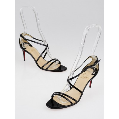Christian Louboutin Black Patent Leather Gwinee 70 Sandals Size 6.5/37