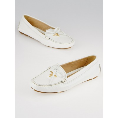 Prada White Vernice Saffiano Patent Leather Moccasin Loafers Size 6/36.5