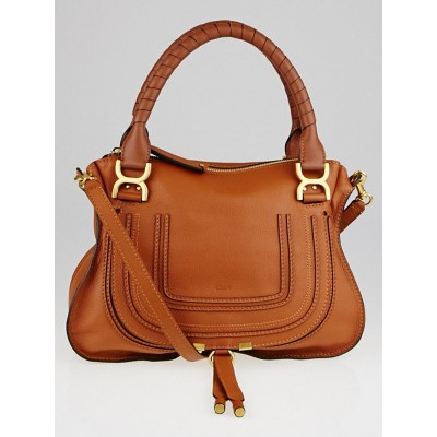 Chloe Tan Pebbled Leather Medium Marcie Satchel Bag