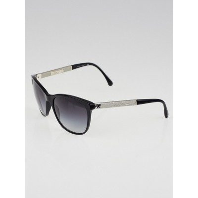 Chanel Black Frame White Denim Sunglasses Wayfarer Sunglasses-5185
