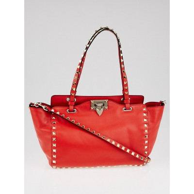 Valentino Red Pebbled Leather Rockstud Small Trapeze Bag