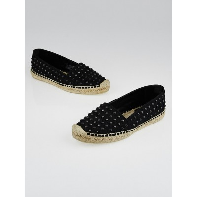 Yves Saint Laurent Black Studded Canvas Espadrille Flats Size 6.5/37