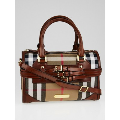 Burberry Brown Leather Bridle House Check Canvas Chester Bowling Bag