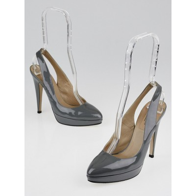 Valentino Grey Patent Leather Slingback Pumps Size 6.5/37