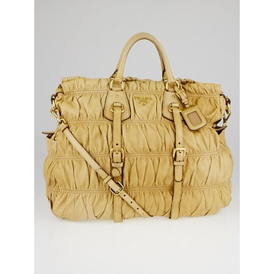 Prada Beige Nappa Gauffre Leather Tote Bag