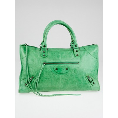 Balenciaga Vert Poker Lambskin Leather Work Bag