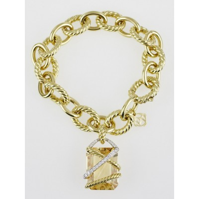 David Yurman 18 Gold Large Oval Link Bracelet w/ Champagne Citrine Cable Wrap Pendant