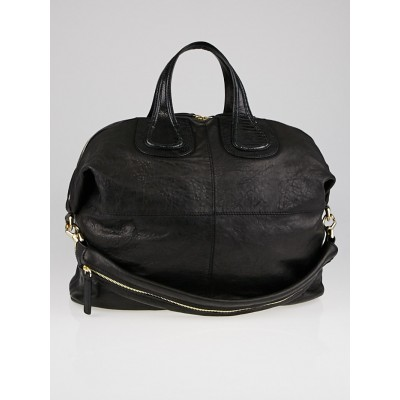 Givenchy Black Wrinkled Lambskin Leather Large Nightingale Bag