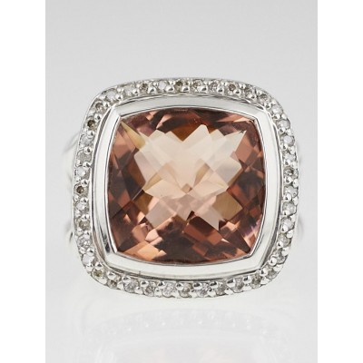 David Yurman 14mm Morganite and Diamond Albion Ring Size 6