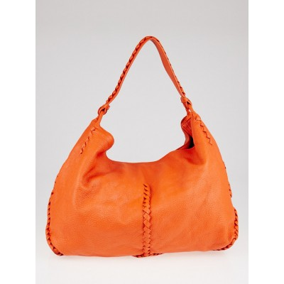Bottega Veneta Orange Cervo Leather Large Shoulder Bag