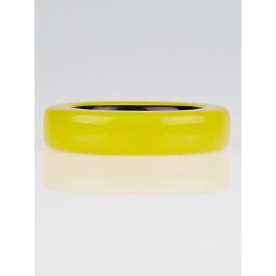 Hermes Yellow Lacquered Wood Ariodante Bangle Bracelet Size S
