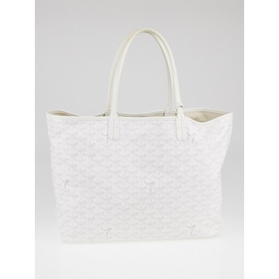 Goyard White Chevron Print Coated Canvas St. Louis PM Tote Bag