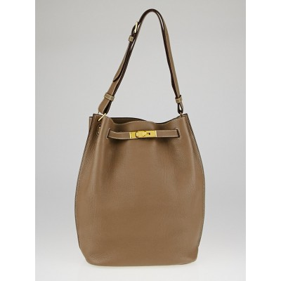 Hermes 26cm Etoupe Togo Leather Gold Plated So Kelly Bag