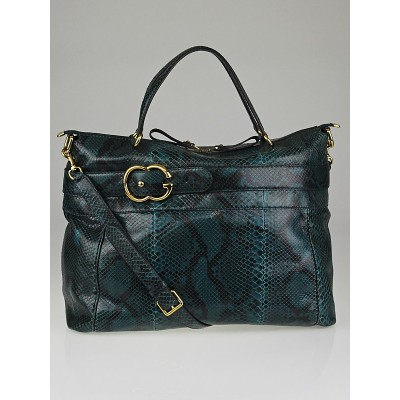 Gucci Green Python GG Ride Large Top Handle Tote Bag