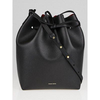 Mansur Gavriel Black/Flamma Saffiano Leather Bucket Bag