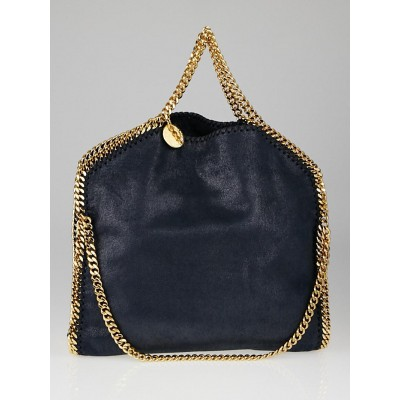 Stella McCartney Navy Shaggy Deer Faux-Leather Small Falabella Fold Over Tote Bag