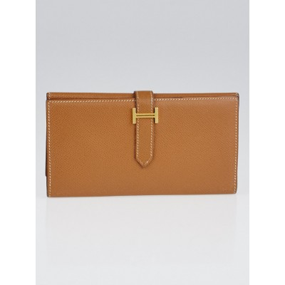 Hermes Gold Epsom Leather Gold Plated Bearn Tri-Fold Wallet