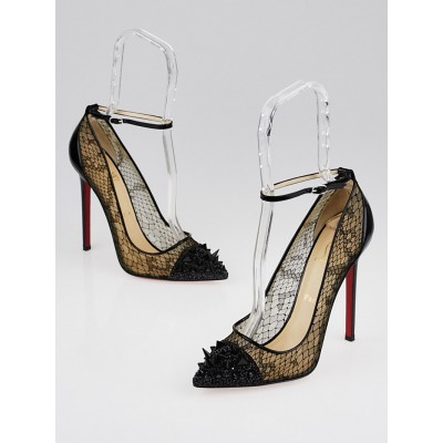 Christian Louboutin Black Leather/Lace Picks and Co Pot Pourri 120mm Ankle Strap Pumps Size 8.5/39