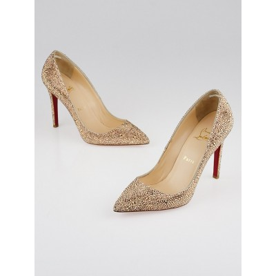 Christian Louboutin Gold Crystal Strass Pigalle 100 Pumps Size 8.5/39
