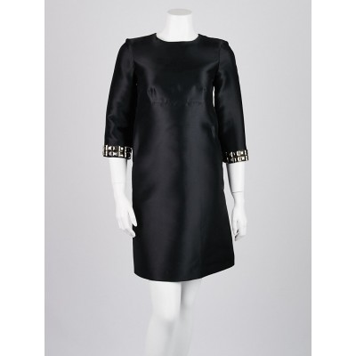 Burberry London Black Polyester Blend 3/4 Length Studded Sleeve Dress Size 2
