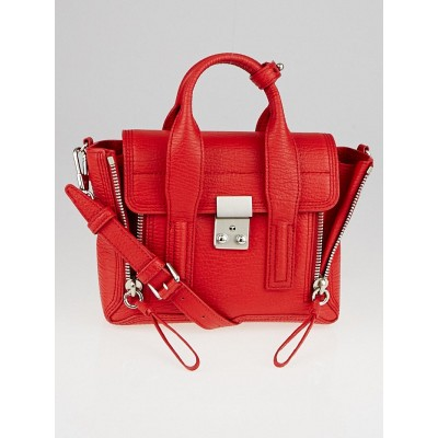 3.1 Phillip Lim Red Nickel Shark Embossed Leather Mini Pashli Satchel Bag