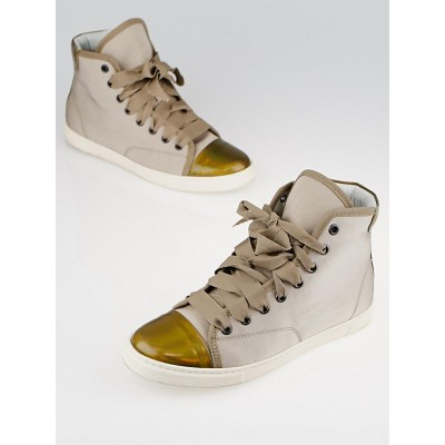 Lanvin Mastic Fabric and Metallic Leather High-Top Sneakers Size 5.5/36