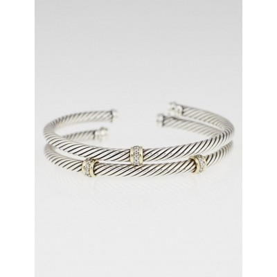 David Yurman 4mm Sterling Silver Cable and Diamond Station Bracelet Set