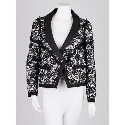 Chanel Black/White Cotton Blend Lace Jacket Size 8/40