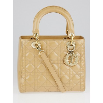 Christian Dior Beige Cannage Quilted Patent Leather Medium Lady Dior Bag