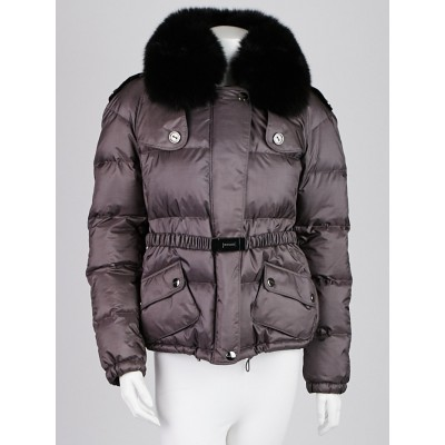 Burberry London Grey Polyester Fox Fur Trim Down Jacket Size M