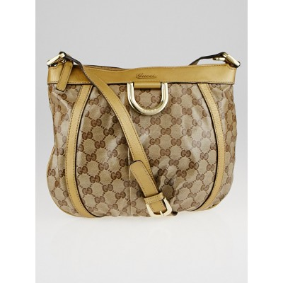 Gucci Beige/Gold GG Crystal Coated Canvas D Ring Crossbody Bag