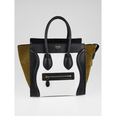 Celine Black/White Tricolor Leather Micro Luggage Tote Bag