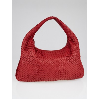 Bottega Veneta Red Intrecciato Woven Nappa Leather Large Veneta Ruffle Hobo Bag