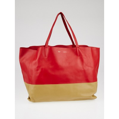 Celine Vermillon/Camel Leather Horizontal Bi-Cabas Tote Bag