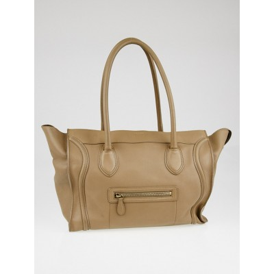 Celine Taupe Smooth Calfskin Leather Shoulder Luggage Tote Bag