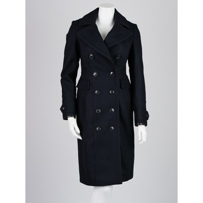 Burberry Brit Navy Blue Wool Blend Military Peacoat w/ Removable Warmer Size 2