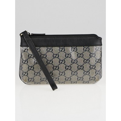 Gucci Blue GG Crystal Coated Canvas Wristlet Pochette Bag