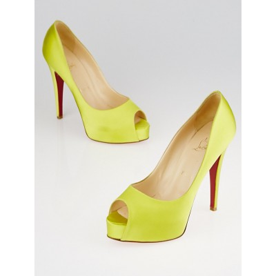 Christian Louboutin Lime Green Satin Very Prive Platform Peep Toe Heels Size 8/38.5