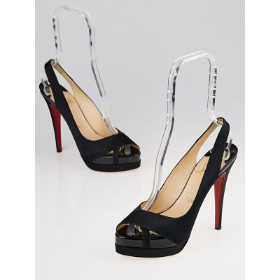 Christian Louboutin Black Satin Very Croise 140 Double Platform Slingback Heels Size 8/38.5