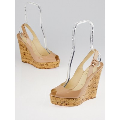 Christian Louboutin Nude Patent Leather Cork Slingback Platform Peep Toe Wedges Size 8.5/39