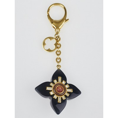 Louis Vuitton Goldtone and Black Fleur d'Etoile Key Holder and Bag Charm