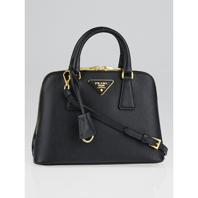 Prada Black Saffiano Lux Leather Mini Promenade Bag 1BA838
