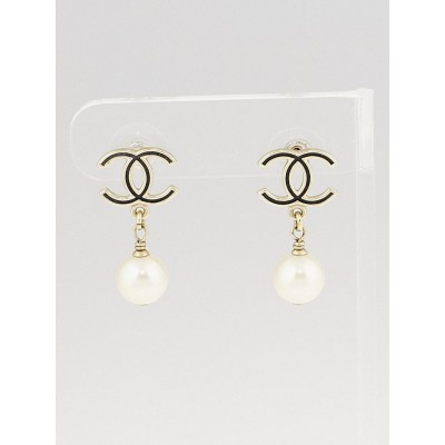 Chanel Goldtone/Black CC Glass Pearl Drop Earrings