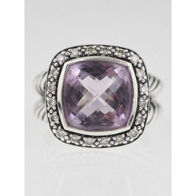 David Yurman 11mm Amethyst and Diamond Albion Ring Size 8