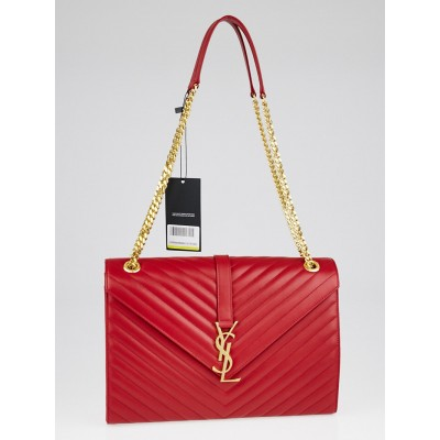 Yves Saint Laurent Red Chevron Quilted Leather Large Monogram Chain Cassandre Bag