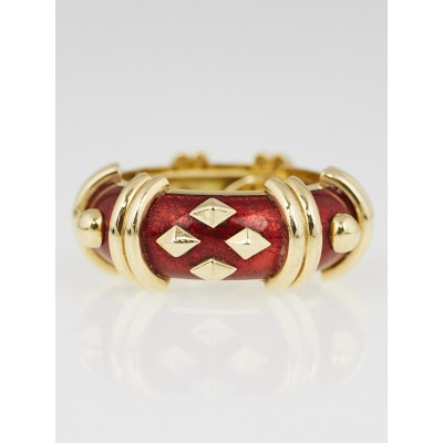Tiffany & Co. 18k Yellow Gold and Red Enamel Jean Schlumberger Do Losange Ring Size 7