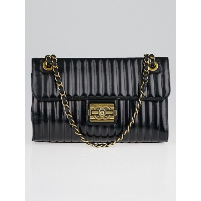 Chanel Black Vertical Quilted Patent Leather Medium Boy Flap Bag