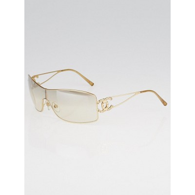 Chanel Goldtone Metal Frame and Crystal CC Shield Sunglasses
