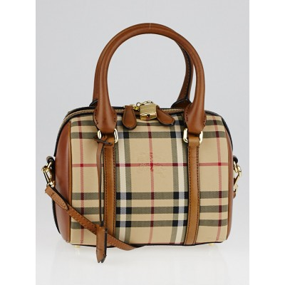 Burberry Brown Horseferry Check Canvas and Leather Small Alchester Bag